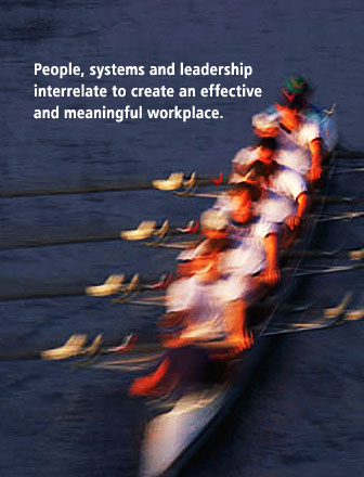 People, systems and leadership interrelate to create an effective and meaningful workplace.